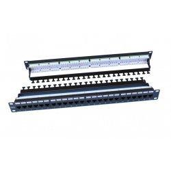 """246107 Hyperline PP3-19-24-8P8C-C6-110D Патч-панель 19"""", 1U, 24 порта RJ-45, категория 6, Dual IDC, ROHS, цвет черный (задний кабельный организатор в"""
