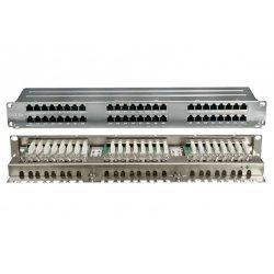 """420641 Hyperline PPHD-19-48-8P8C-C5E-SH-110D Патч-панель высокой плотности 19"""", 1U, 48 портов RJ-45, полный экран, категория 5E, Dual IDC"""