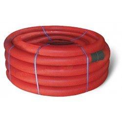 121911 Двустенная труба ПНД гибкая для кабельной канализации д.110мм с протяжкой, SN8, 450Н, в бухте 50м, цвет красный
