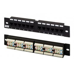 "433641 Hyperline PP2-19-12-8P8C-C6-110D Патч-панель 19"", 1U, 12 портов RJ-45, категория 6, Dual IDC"
