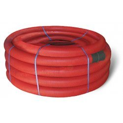 121950 Двустенная труба ПНД гибкая для кабельной канализации д.50мм с протяжкой, SN13, 250Н,  в бухте 100м, цвет красный
