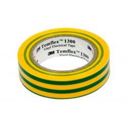 7100080346 Temflex 1300, желт-зел, универсальная изоляционная лента, 19мм х 20м х 0,13мм
