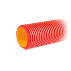 160911 Труба двустенная жесткая гофрированная красная d=110мм, SN12, 750Н, отрезок 6 м