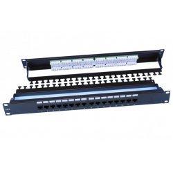 """246105 Hyperline PP3-19-16-8P8C-C6-110D Патч-панель 19"""", 1U, 16 портов RJ-45, категория 6, Dual IDC, ROHS, цвет черный (задний кабельный организатор в"""