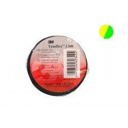 7100081324 Temflex 1300, желто-зеленая, универсальная изоляционная лента, 15мм х 10м х 0,13мм
