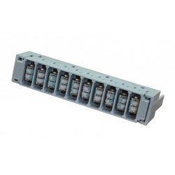Магазин защиты ПВТ 10 пар 2/10, оснащенный 3-х полюсными разрядниками (10шт.) и скобами заземления (2шт.)